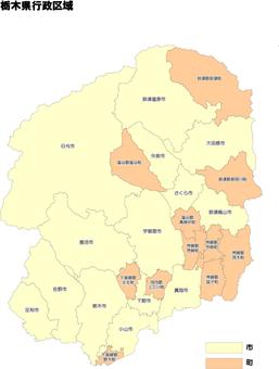 Tochigi prefecture municipal administrative area