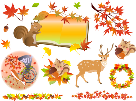Autumn leaves and autumn plants and animals