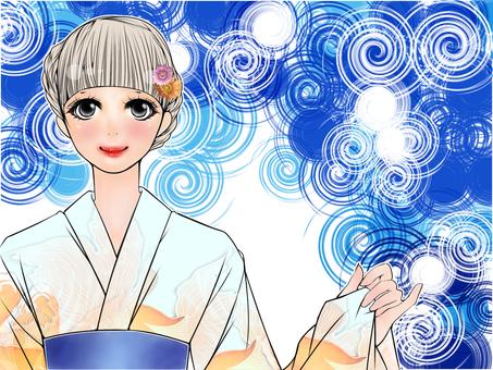 Yukata beauty (blue)