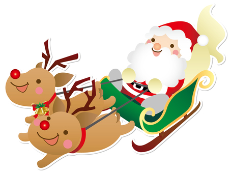 Santa Claus on a sled without a background
