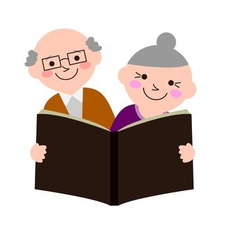 An old couple reading a book