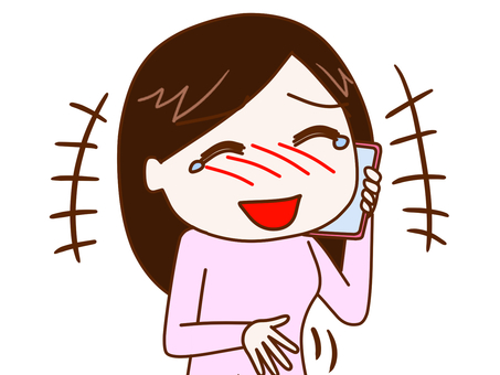Woman 2 talking while laughing with a smartphone