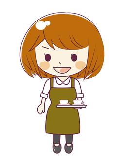 Cafe clerk 2 having a drink