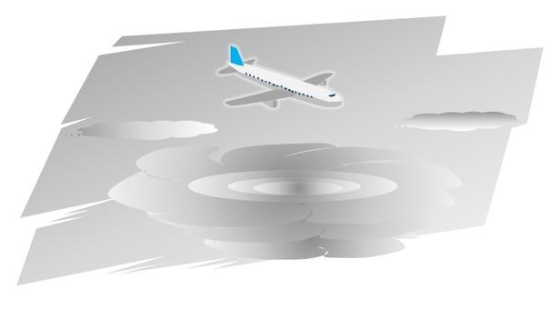 태풍의 상공을 비행 여객기