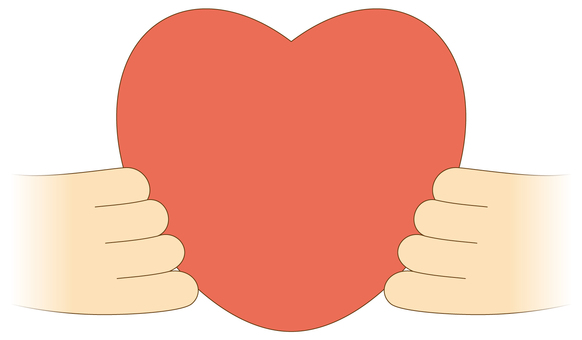 Hand with heart (without background)