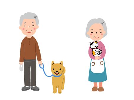 祖父と犬・祖母と猫