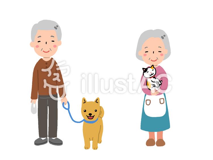 祖父と犬・祖母と猫のイラスト
