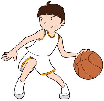 A dribbling basketball girl 1