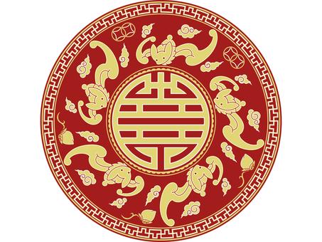 패턴 - 중국 문양 - 오복 捧寿 (배경 없음)