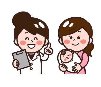 소아과에서 진찰을받을 아기