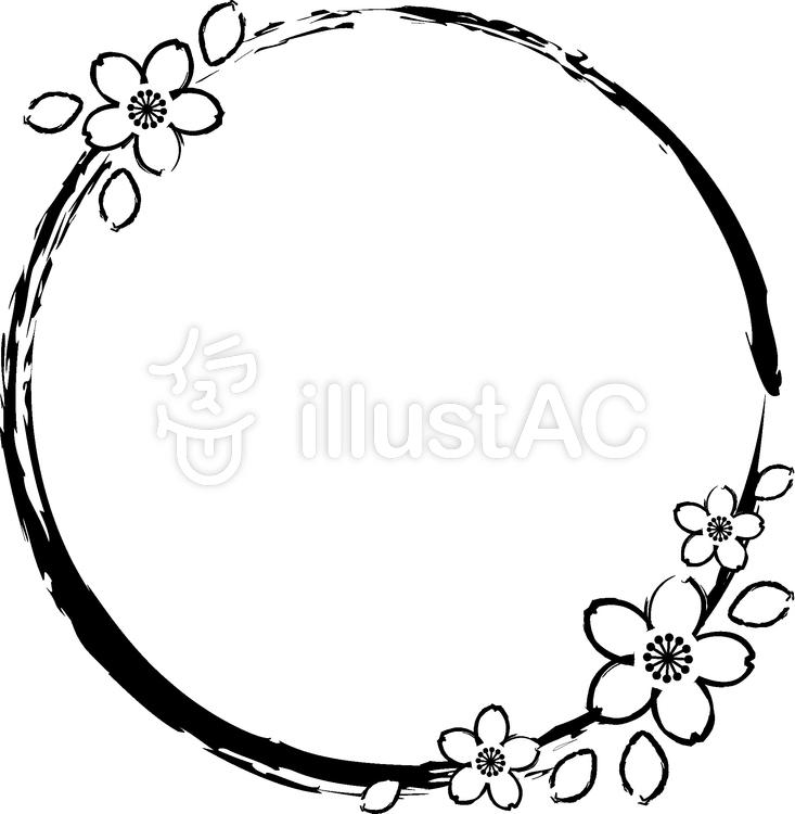 桜のモノクロフレームイラスト No 1031283無料イラストなら