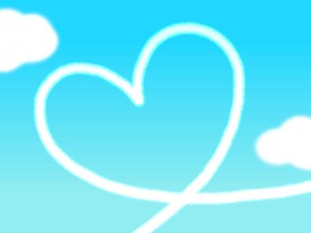 Heart contrail blue sky frame border