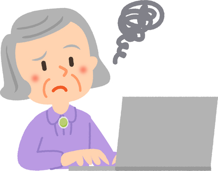 Troubled grandmother on computer