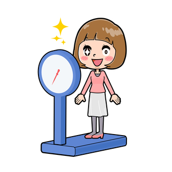 Pink clothes young woman weight scale
