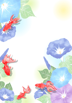 Watercolor background with goldfish and morning glory