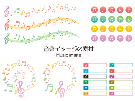 Musical illustration set material of music image