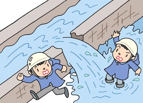 河川増水・堤防決壊