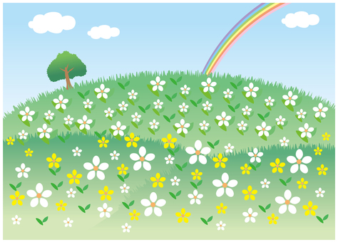 Scenery with rainbow and spring flowers