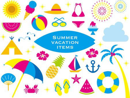 Set of summer vacation items