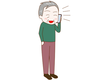 An old man who talks while being excited with a smartphone