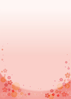 Japanese style background Pink (plum, chrysanthemum) Vertical