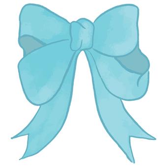 可愛的水彩絲帶(藍色)