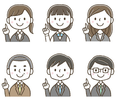 Cute office worker set pointing / hand drawn