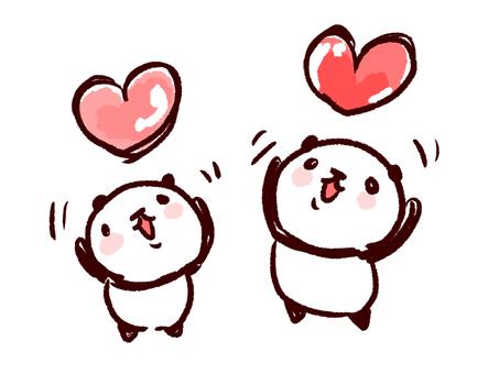 Panda throwing heart