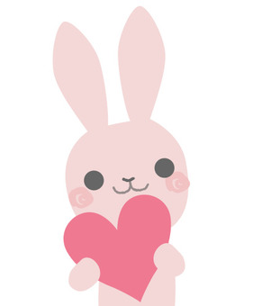 Pink rabbit with heart