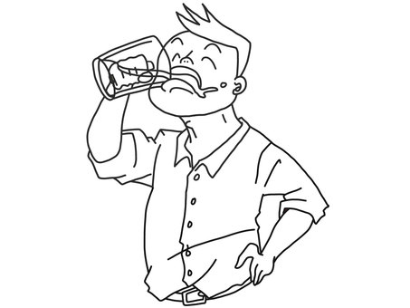 Male line drawing with hands on hips and drinking beer