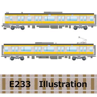 Commuter train E233 series Sobu line illustration