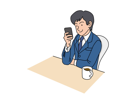 A male employee with a smartphone