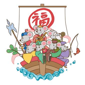 Mouse Seven Lucky Gods _ There is a line