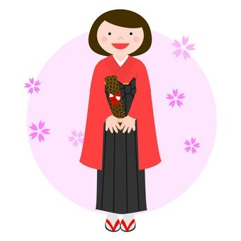 A woman in a hakama (red)