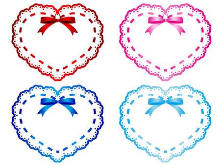 Mini frame of ribboned lace heart