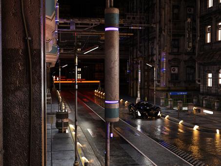 夜の街と灯り