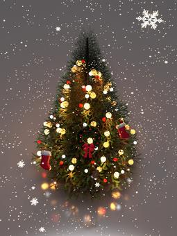 氷上のクリスマスツリー