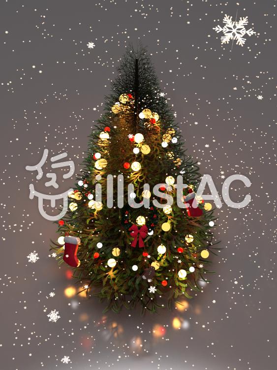 氷上のクリスマスツリーのイラスト