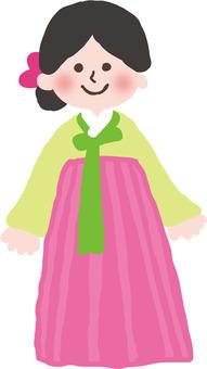 A girl in Korean clothes
