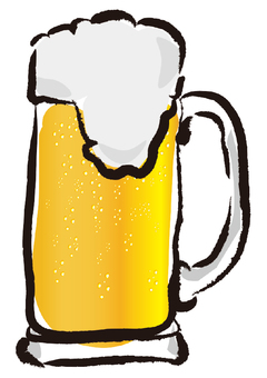 Illustration of beer (writing brush style)