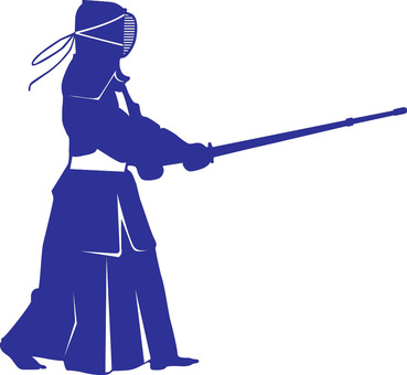 Kendo _ person with bamboo sword _ dark blue