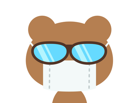 Hay fever disease bear (mask and glasses)