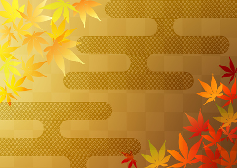 Red leaf _ lattice _ gold foil _ background