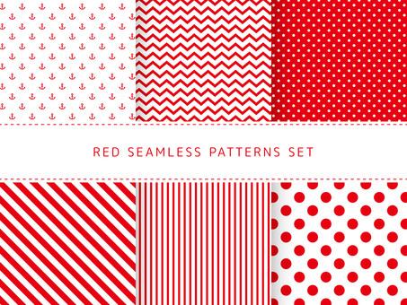 Red seamless pattern set