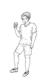 Hydration, men, line drawing