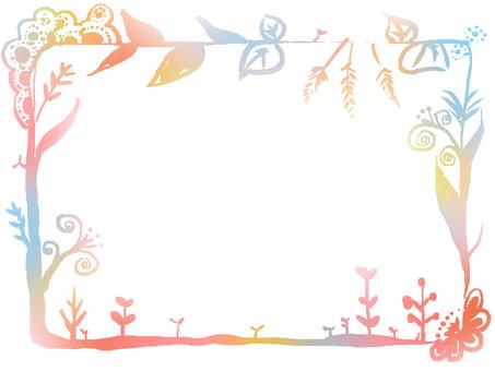 手寫風植物框架【極光框架】
