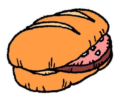 Bread with sandwiched ham