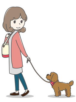 Woman _ walk of a dog