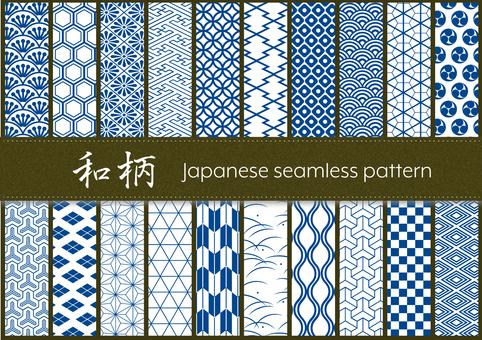 일본식 디자인 원활한 패턴 세트 (블루)