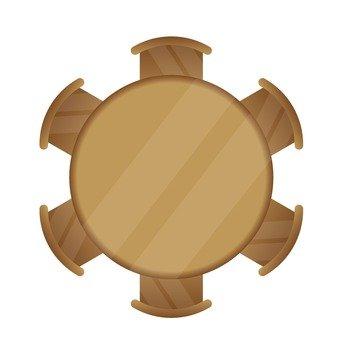 Wooden dining set (circle)